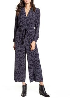 Rails Callan Animal Print Long Sleeve Crop Jumpsuit