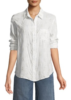 Rails Charli Button-Down Linen-Blend Shirt with Pineapples