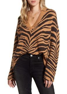 Rails Eleanor Tiger Stripe Wool & Cashmere Blend V-Neck Sweater