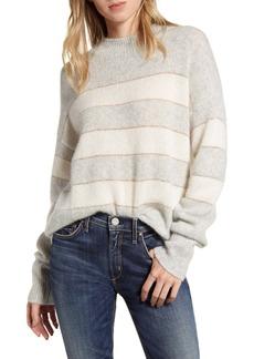 Rails Ellise Metallic Detail Stripe Cashmere & Silk Mock Neck Sweater
