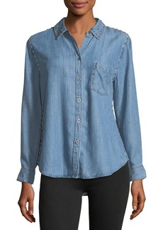 Rails Ingrid Button-Front Chambray Shirt w/ Studded Trim