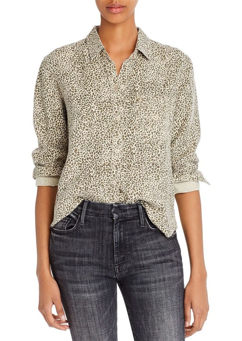 Rails Ingrid Raw-Edge Leopard Print Shirt