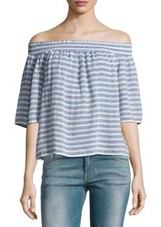 Rails Isabelle Off-the-Shoulder Striped Linen Top