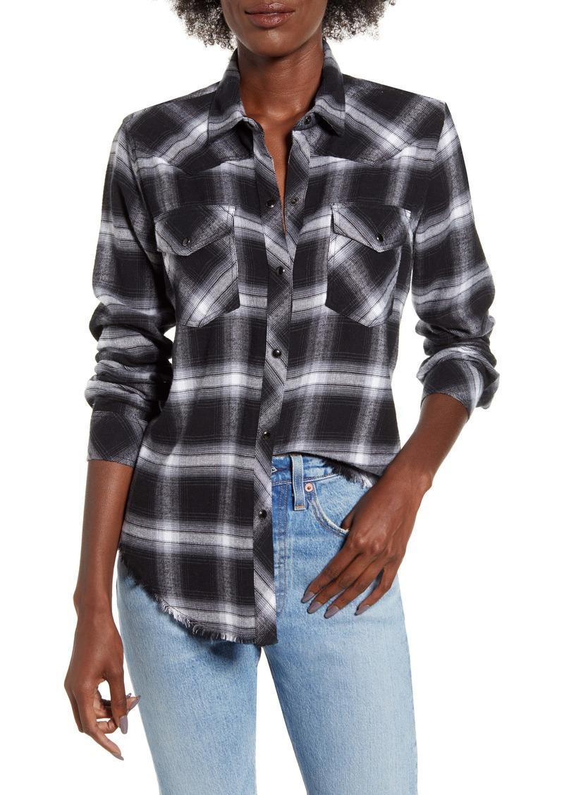 Rails Jaxton Plaid Frayed Hem Twill Shirt