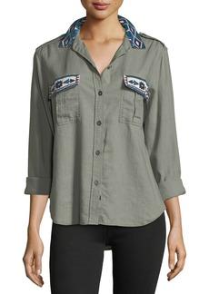 Rails Kona Button-Front Linen-Blend Shirt w/ Embroidery