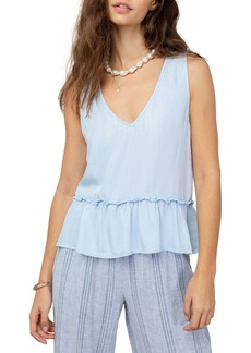 Rails Mira Stripe Linen Blend Sleeveless Peplum Top