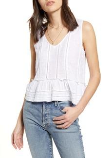 Rails Mira Stripe Linen Blend Sleeveless Peplum Top