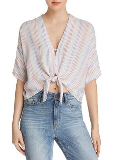 Rails Thea Rainbow Striped Tie-Front Shirt