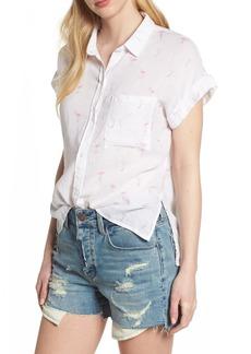 Rails Whitney Flamingo Print Linen Blend Shirt