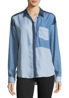Rails Zoey Colorblocked Button-Front Chambray Shirt