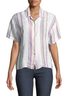 Rails Zuma Striped Linen-Blend Button-Down Top