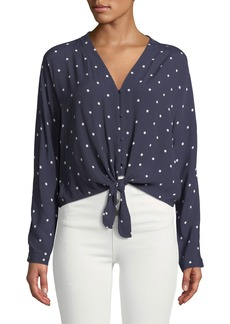 Rails Sloane Dot-Print Tie-Front Blouse