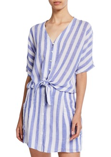 Rails Striped Button-Front Short-Sleeve Tie-Hem Shirt