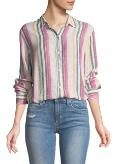 Rails Sydney Striped Button-Front Linen Top