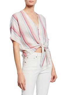 Rails Thea Striped Linen Tie-Front Top