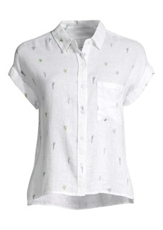 Rails Whitney Cactus Short-Sleeve Linen-Blend Blouse