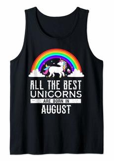 Rainbow All the best Unicorns are born in August Feminine Design Tank Top