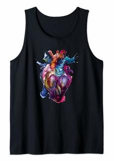 Rainbow Bleeding Anatomical Heart Paint Splatter Splash Tank Top