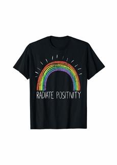 Radiate Positivity Vintage Rainbow Shirt for Women Men Kids T-Shirt