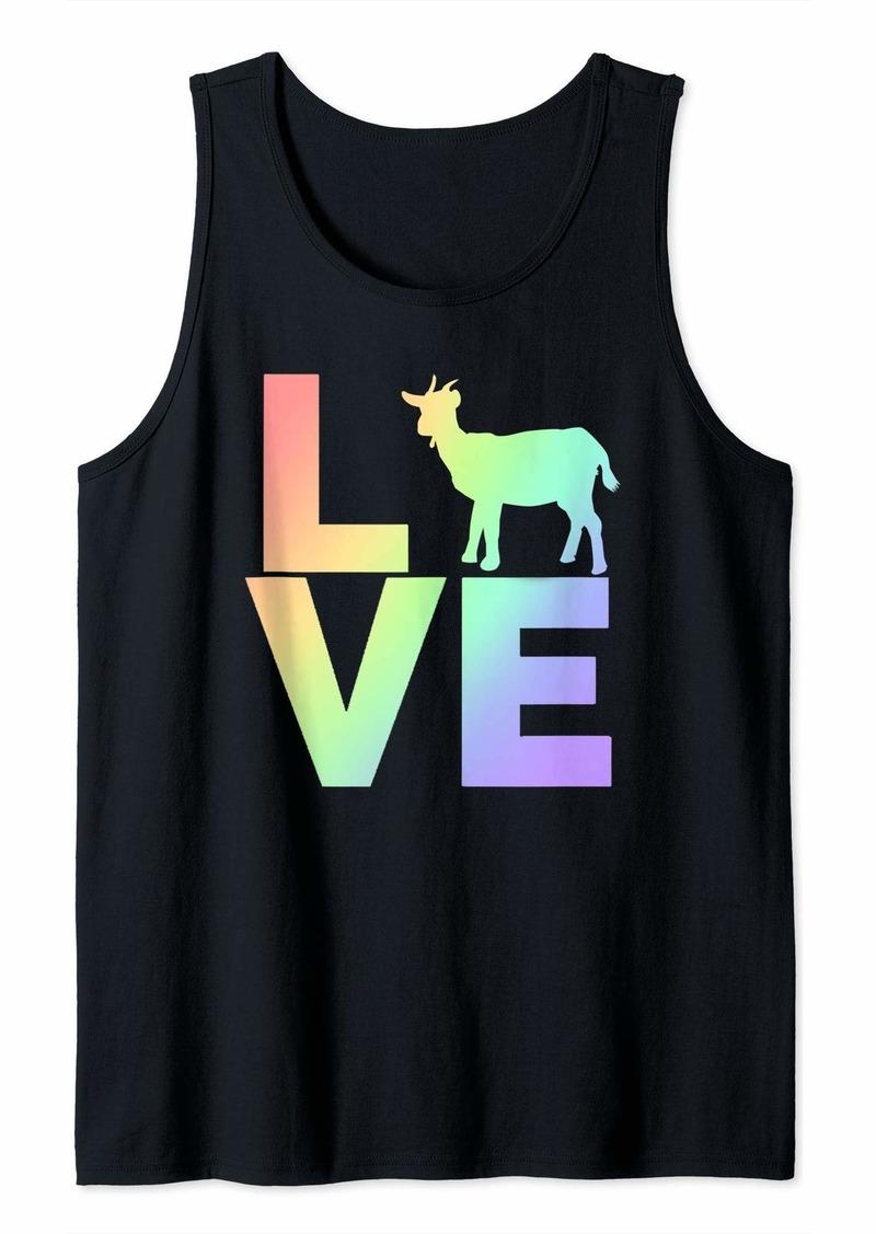 I Love Goats Pastel Rainbow Goat Silhouette Art Tank Top