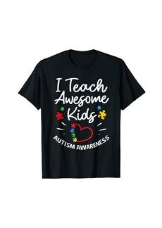 Rainbow I Teach Awesome Kids Autism Special Education Teacher T-Shirt