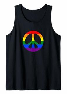 LGBT Peace Sign Rainbow Flag Gay Pride Tank Top