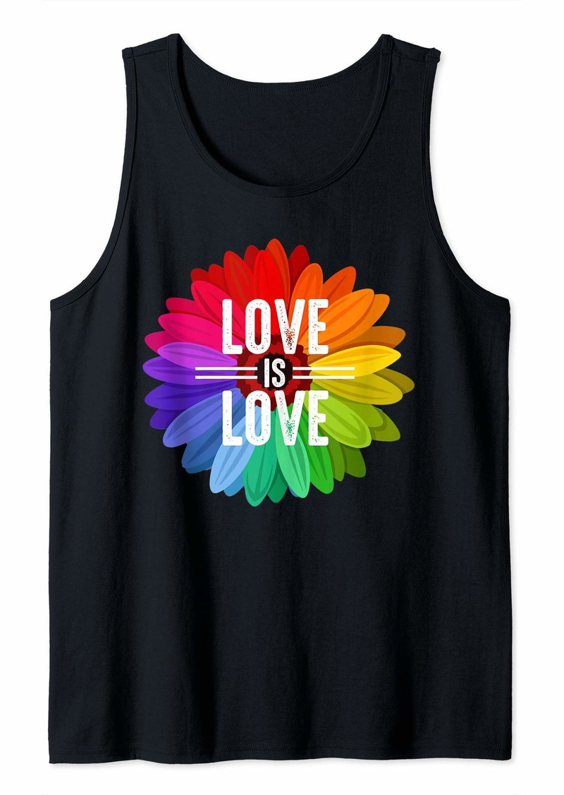 Rainbow Love is Love Floral LGBT Tank Top