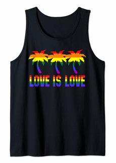 Love is Love Shirt LGBT Rainbow palm trees Tshirt Women Men Tank Top