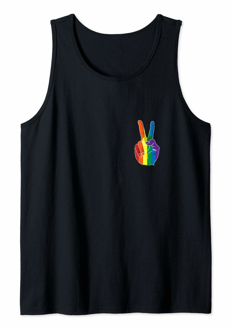 Pride Peace Sign Rainbow T-Shirt Tank Top