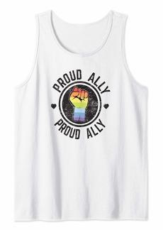 Rainbow Proud Ally LGBTQ Gay Pride Parade Retro Gift Tank Top