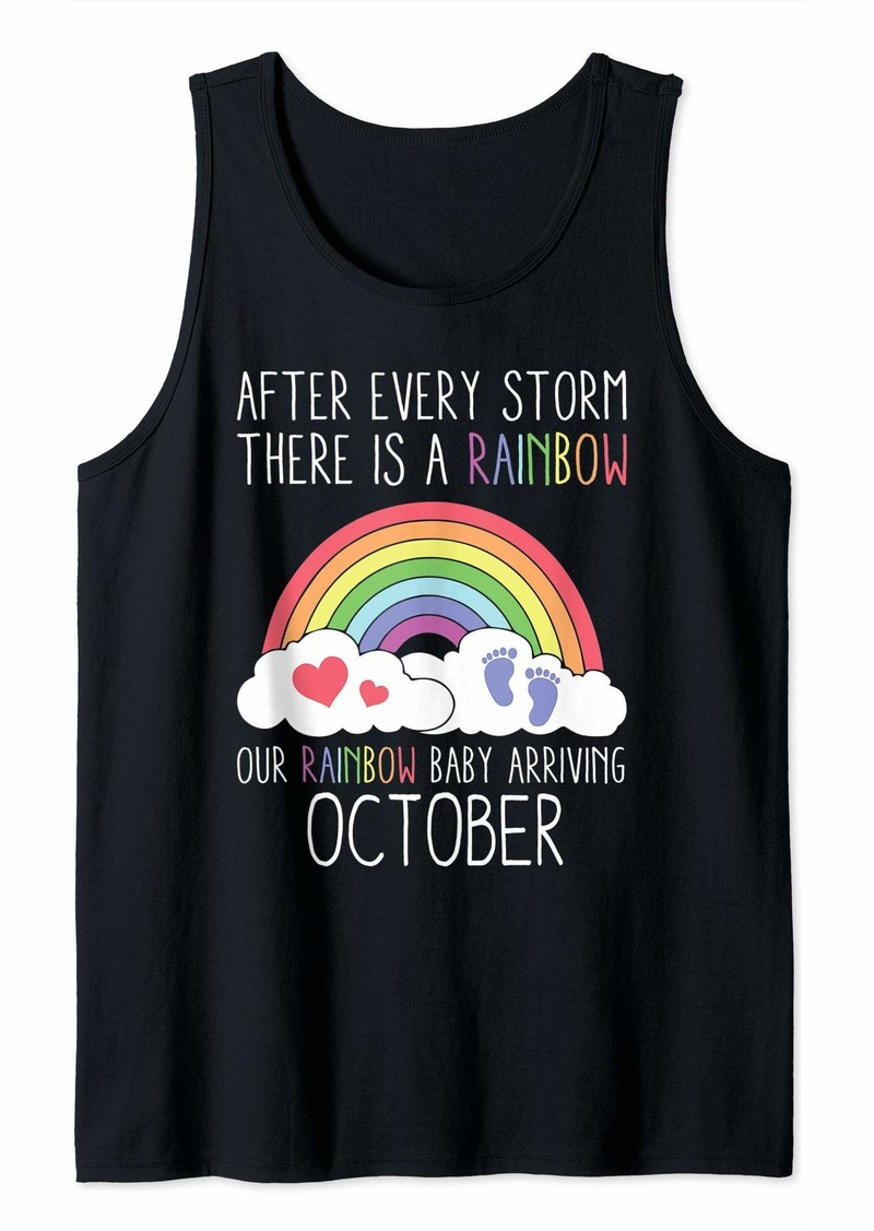 Rainbow Baby Arriving October Funny Baby Announcement Gift Tank Top