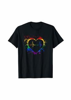 Rainbow Flag Heart Heartbeat Lesbian Gay Pride LGBT Tshirt