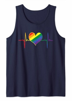 Rainbow Heartbeat LGBTQ Equality Gay Rights Tank Top