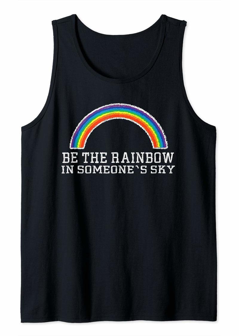 Rainbow Retro Style Graphic Positivity Phrase LGBT Gift Tank Top
