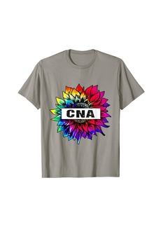 Rainbow Sunflower CNA COLOR Nurse 2021 T-Shirt