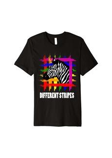 Rainbow Zebra Stripes LGBT Pride Month Different Stripes Premium T-Shirt