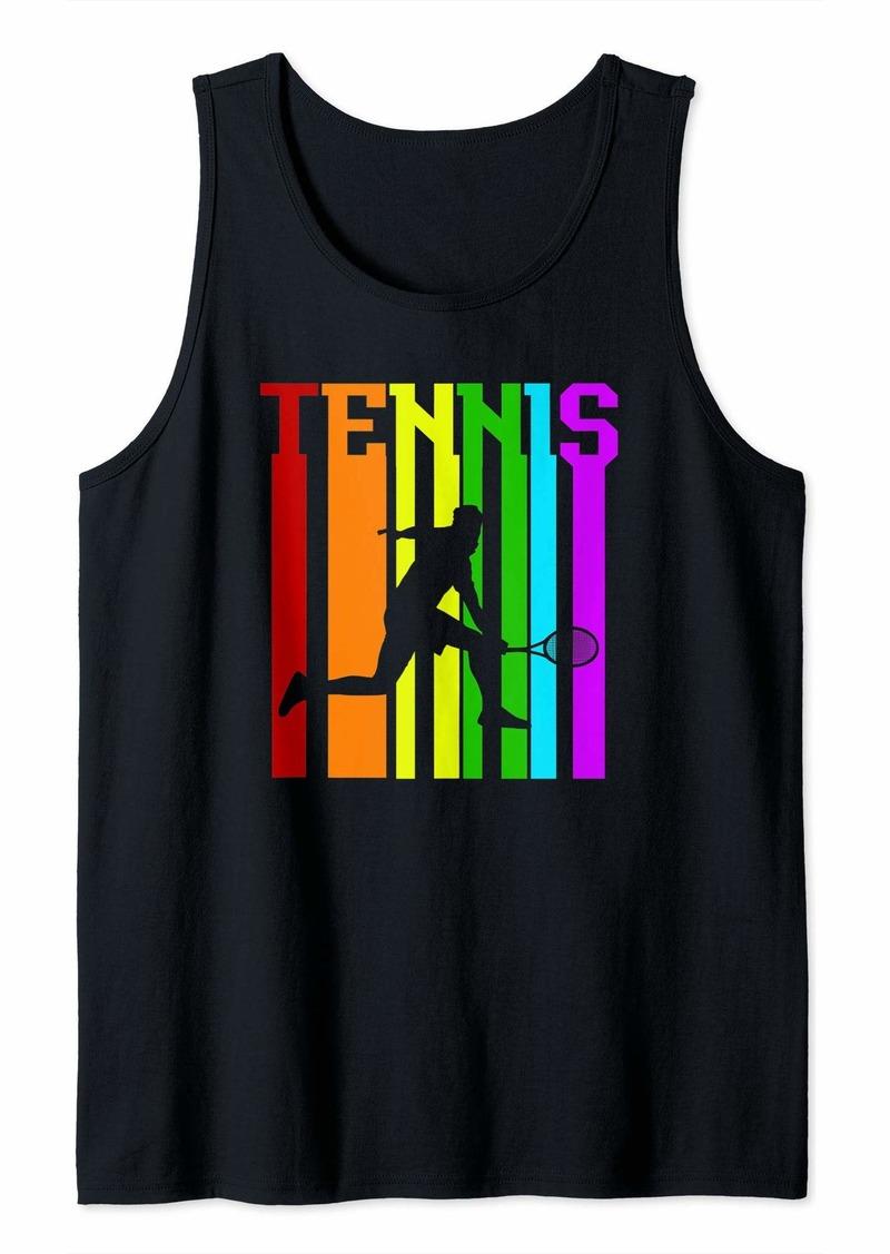 Retro Vintage Rainbow Tennis  Tank Top