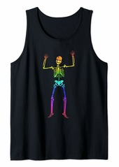 Skeleton in Rainbow Colors - Funny Halloween Dress Tank Top