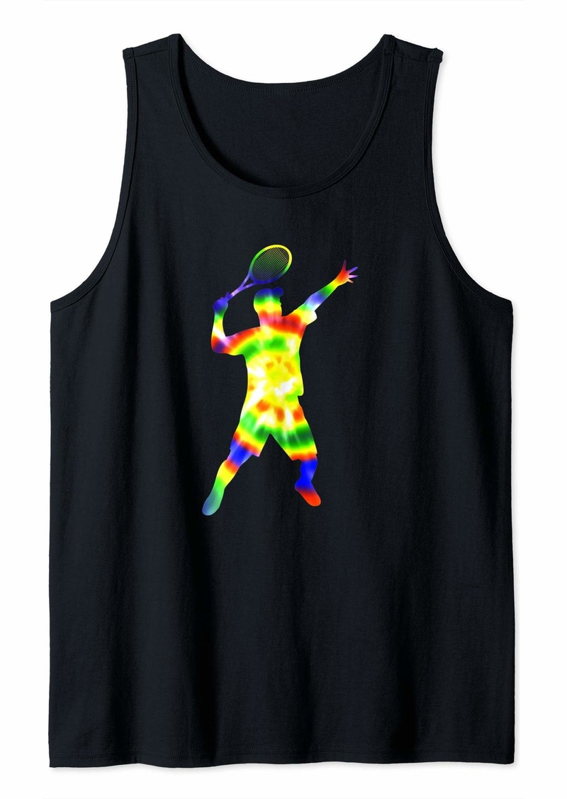 Tie dye Rainbow Tennis Racket Tennis Player Tank Top