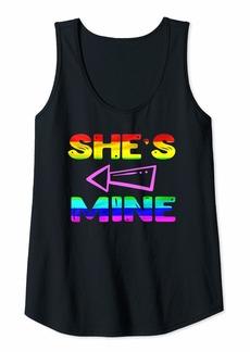 Rainbow Womens Lesbian Couple Shirts She's Mine Matching LGBT I'm Hers Tank Top