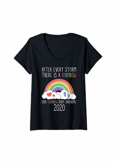 Womens Rainbow Baby Arriving 2020 Funny Pregnancy Announcement Gift V-Neck T-Shirt