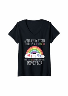 Womens Rainbow Baby Arriving November Funny New Baby Announcement V-Neck T-Shirt