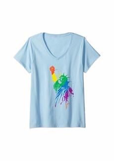 Womens Rainbow Statue Of Liberty With Raised Fist LGBTQ+ Pride V-Neck T-Shirt