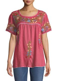 RAJ Embroidered Short-Sleeve Peasant Blouse