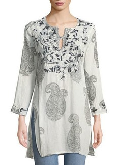 RAJ Faith Paisley-Print Thread-Work Split-Neck Cotton Tunic