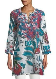 Raj Jasmine 3/4-Sleeve Embroidered Tunic