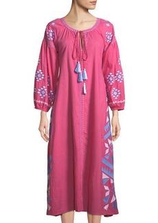 Raj Kilim Embroidered Button-Front Dress