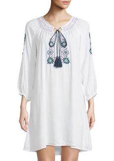 Raj Long-Sleeve Embroidered Peasant Dress