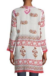 Raj Long-Sleeve Wallpaper Embroidered Tunic