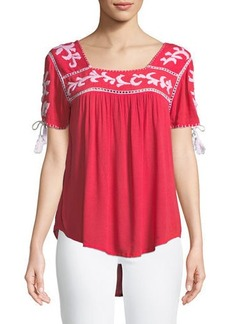 RAJ Short-Sleeve Embroidered Peasant Blouse